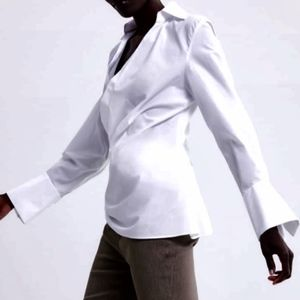 💟 NWT Zara White Poplin Blouse 💟